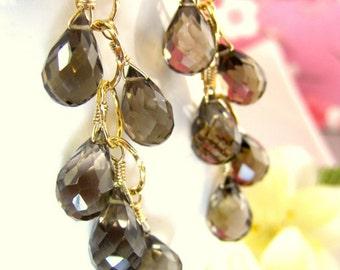 Smokey quartz gold chandelier earrings, brown quartz gold chain earrings, high quality gold African cluster earrings