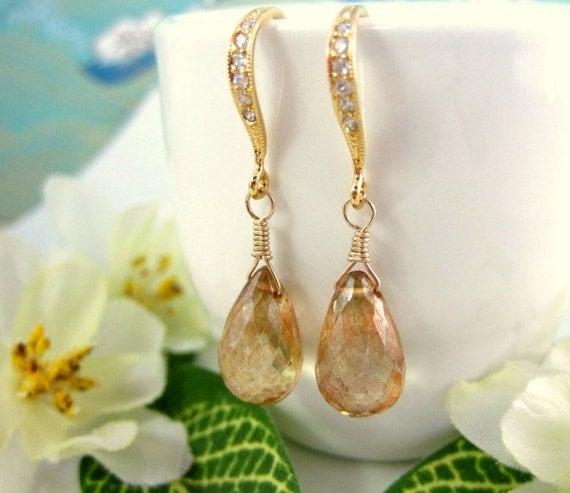 Champagne yellow mystic quartz diamond hook earrings, gold wedding earrings, gold bridesmaid earrings, bohemian earrings