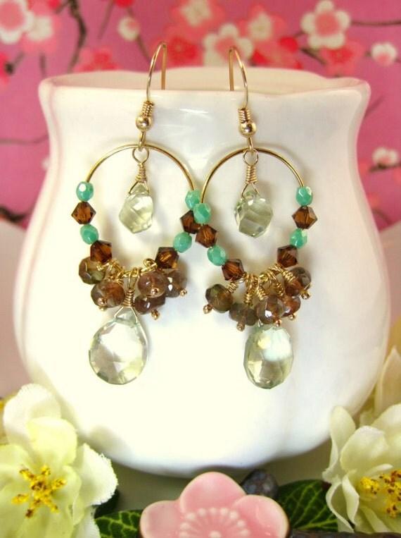 Green amethyst chandelier hoop bohemian chic earrings