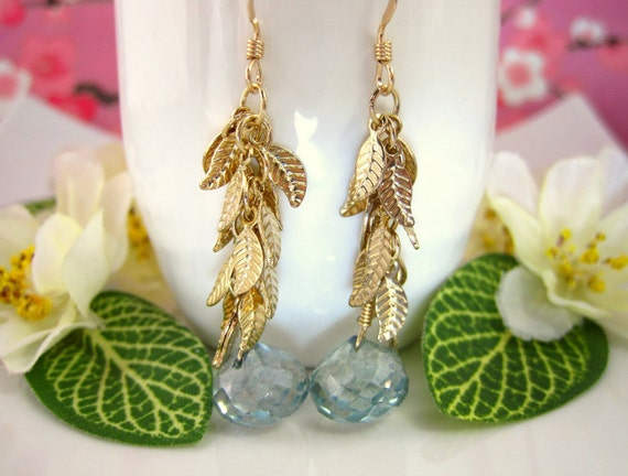 Gold leaf cluster teal green mystic quartz drop earrings