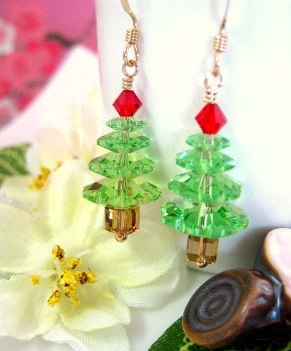 Swarovski Crystal Peridot Christmas Tree Gold Earrings