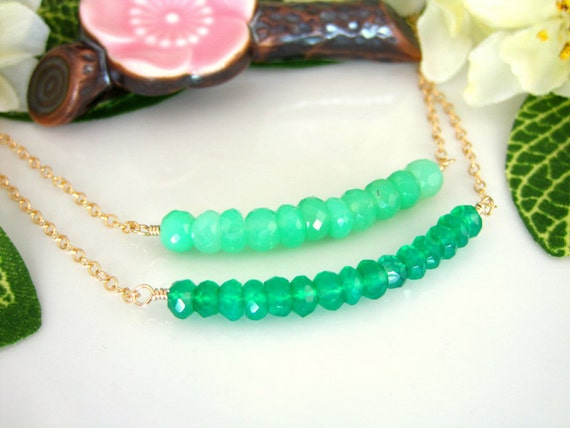 Green chrysoprase and green onyx double bar gold filled necklace, green christmas necklace, mint green gold necklace