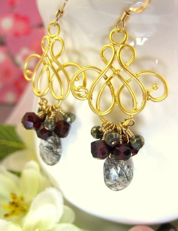 Black Rutilated Quartz Pyrite Gold Chandelier Earrings, vampire chandelier earrings, true blood vampire earrings