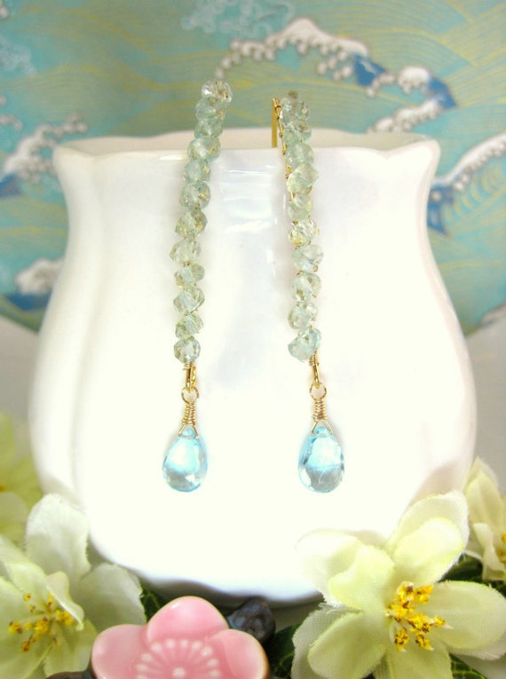 Aquamarine sky blue topaz gold hook earrings