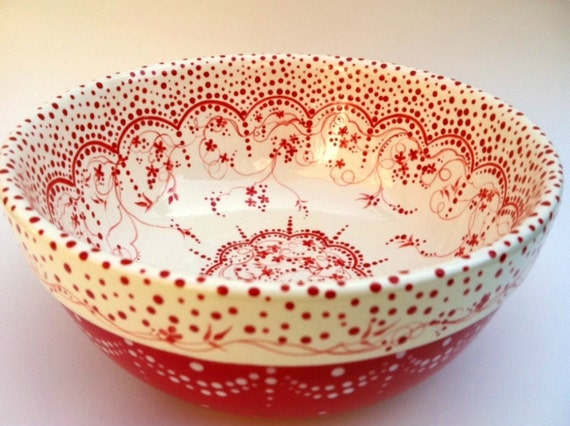 Red and White and Lovely All Over Vintage Style Bowl.. I am Taking orders