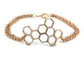 SALE HoneyComb Geometric Bracelet Vintage Brass hexagon  - Honeycomb Bracelet