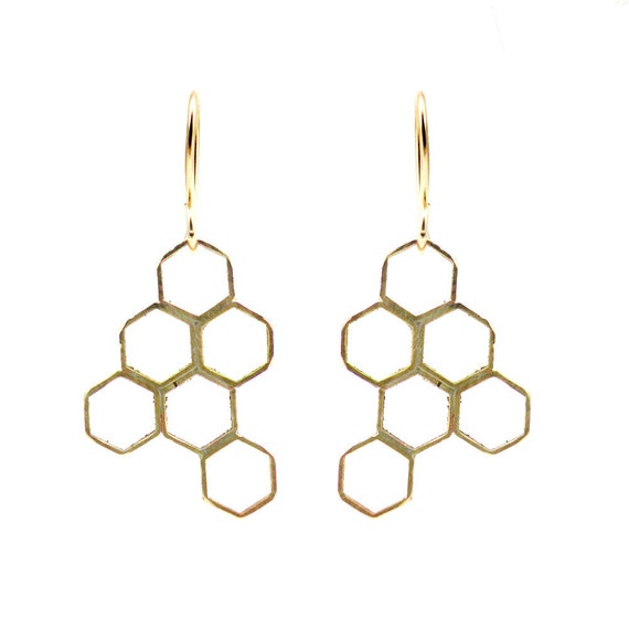 Honey Comb Geometric Earrings Vintage Brass 14k Gold Filled Hexagon  - Honeycomb