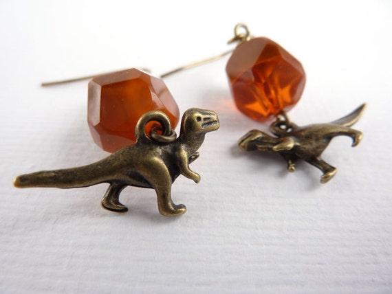 Dinosaur Earrings, Drop Earrings, Dangle Earrings, Beaded