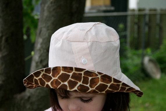 Recycled Shirt Giraffe Lover Hat - ready to ship