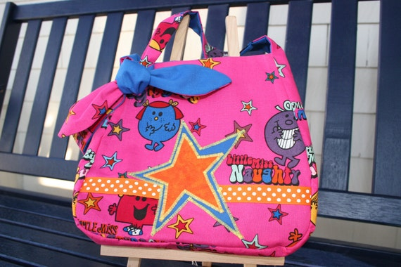 Hot Pink Little Miss Purse lined with blue - ready to ship