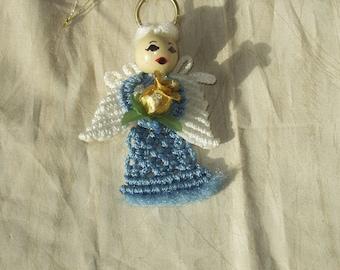Macrame Angel Ornament,Blue