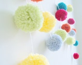 Celebrate & Party | Yarn Pom Pom Garland | Party Decor | Banners | Buntings | Photo Props | Cherry Red | Pumpkin | Key Lime | Butter Yellow