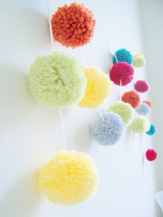 Celebrate & Party  Yarn Pom Pom Garland for Party Decor, Banners, Buntings and Photo Props