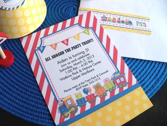 Printable Train Party Invitations w/ matching Envelope Address Wraps