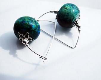Blue Turquoise Magnesite Sterling Silver Earrings