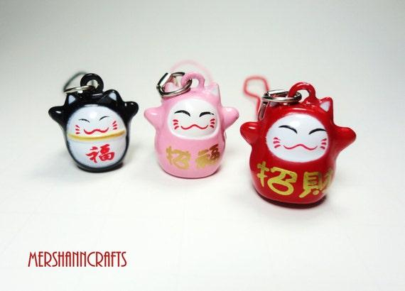 RESERVED FOR KRISTI---Cute Ninja Maneki Neko Cellphone Charm