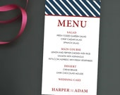 Striped Preppy Spencer Wedding Reception Menu
