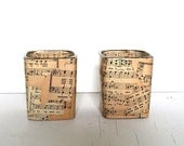 Reclaimed Glass and Sheet Music Candle Holder, Set of 2