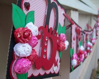 Handmade Banner - Custom made - GO GREEN - Name Banner Happy Birthday Baby Shower Bridal Shower Queen of Hearts theme