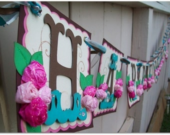 Happy Birthday Banner - Handmade Banner - Custom Made - GO GREEN