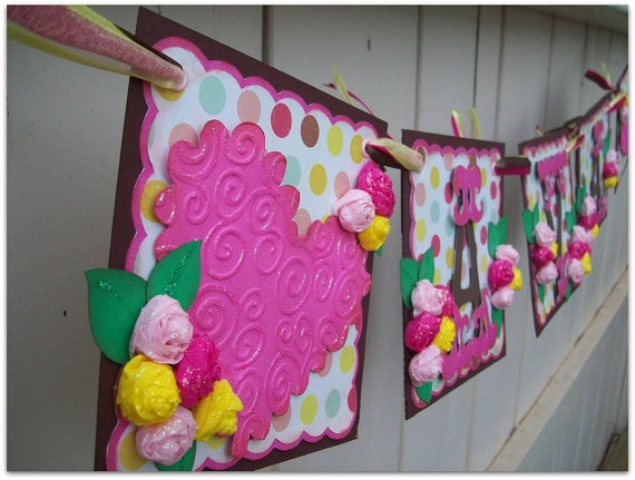 Handmade Banner - Custom made - GO GREEN - Name Banner Happy Birthday Baby Shower Hearts
