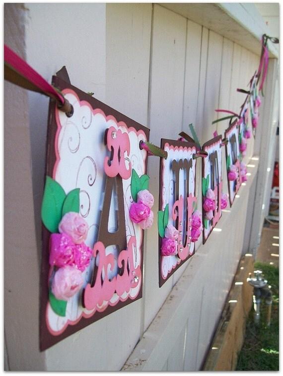 Handmade Banner - Custom made - GO GREEN - Name Banner Happy Birthday Baby Shower Bridal Shower Tea Party Flower