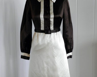 1960's Vintage Bonwitt Teller Mod Brown and Creme Soft Satin Dress