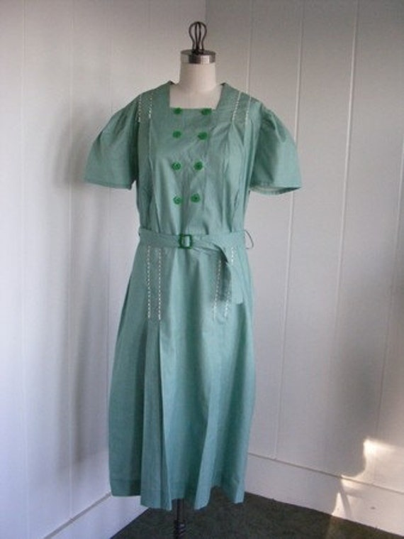 1920's Coquette Frock Vintage Dead Stock Green Checkered House Dress, XL,