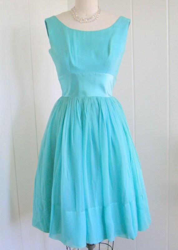 1950's Vintage Aqua Blue Chiffon Party Dress