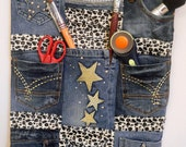 Denim & Animal Print Hanging Pocket Organizer - Put your supplies into one of ten pockets