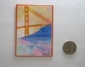 S.F. Golden Gate Bridge ACEO Original Handmade in Watercolor