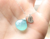 Bridesmaids Gift Set, FOUR Necklaces, Sterling Silver Gemstone Necklace & Initial, Aqua Blue Chalcedony, Personalized Bridal Party Jewelry