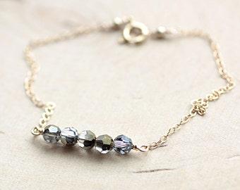 Dainty Everyday Gold Chain Bracelet - Floating Swarovski Crystal Grey Faceted Beads - Delicate, Feminine & Simple Bracelet