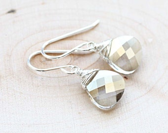 Dainty Sterling Silver Crystal Earrings - Wire Wrapped Silver Shade Swarovski Crystal Briolette - Silver Earrings - Bridesmaid Earrings