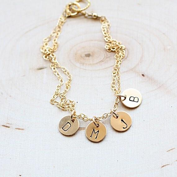 s bracelet gold initial charm bracelet custom