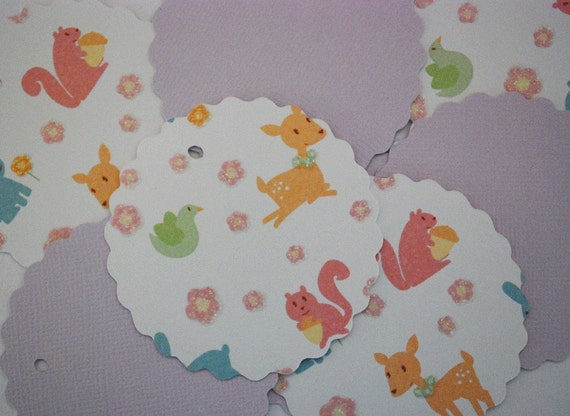 REDUCED for quick sale Set of 8 Gift Tags, 4 in a Spring Animal Theme and 4 in Lilac By Chaos By Design