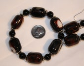 Natural Agate Beaded Bracelet and Earring Set