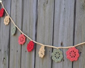 Garland - Bunting - Crochet - Tropical Blossoms - Rustic Home Decor - Autumn - Summer - Decoraton