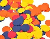 CLEARANCE - Circus Show Confetti - Red, Orange, Blue and Yellow - Circle Confetti  - Kids Birthday Party Decor - Wedding Confetti