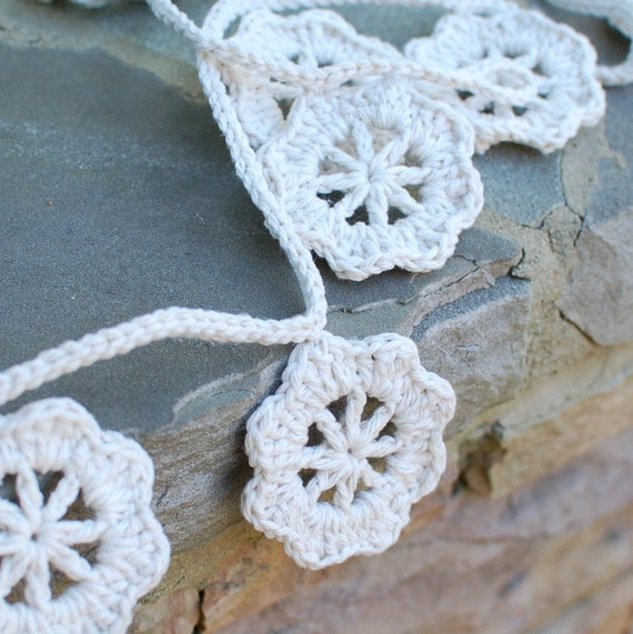 SALE - Crochet Garland - Bunting - Wedding Decor - Flowers - Natural - Ecru - Wall Hanging