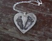 This Little Piggy Customized Footprint Heart Necklace