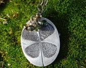 Luck O' The Irish - Pressed Shamrock Necklace in Silver - OOAK