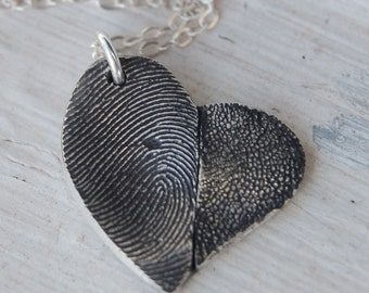 Custom Paw Pad and Fingerprint Necklace - Silver Puppy Love Asymmetrical Heart
