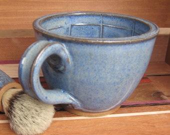 Large Wet Shaving Lather Bowl Mug in Cobalt Blue