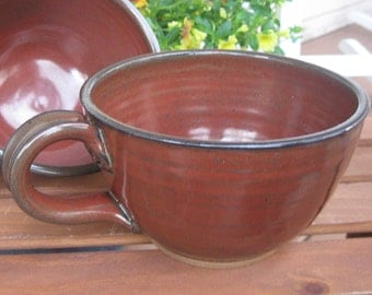 Deep Sided Soup Chili Bowl Handle Large Size Earthy Red