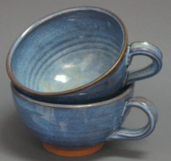 Soup Chowder Bowl Set Blue Pottery Stoneware Handles Mug Cup
