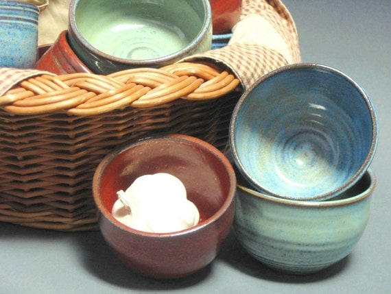 Iron Red Diet or Sauce Dipping Bowl Handmade Pottery EACH ONE UNIQUE
