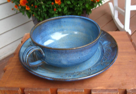 Midnight Snack Soup and a Sandwich Set in Cobalt Blue READY TO SHIP