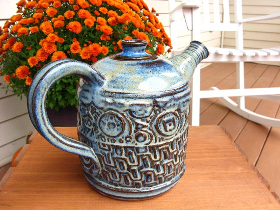 Richly Textured Teapot in Cobalt Blue Handmade Pottery