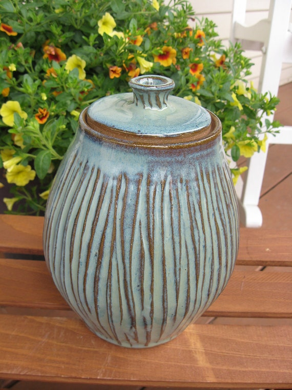 Country Style Green Striped Lidded Jar READY TO SHIP